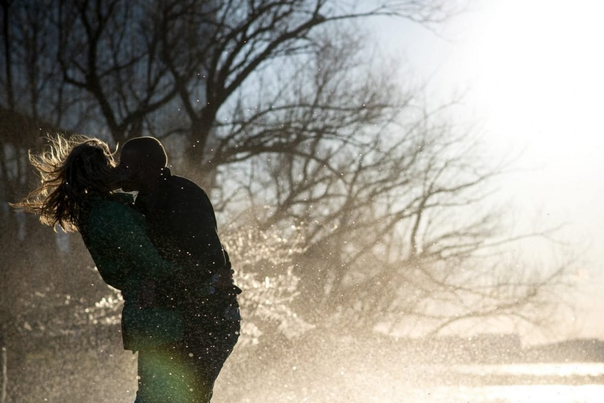 Engagement Photography Madison WI Park Kissing