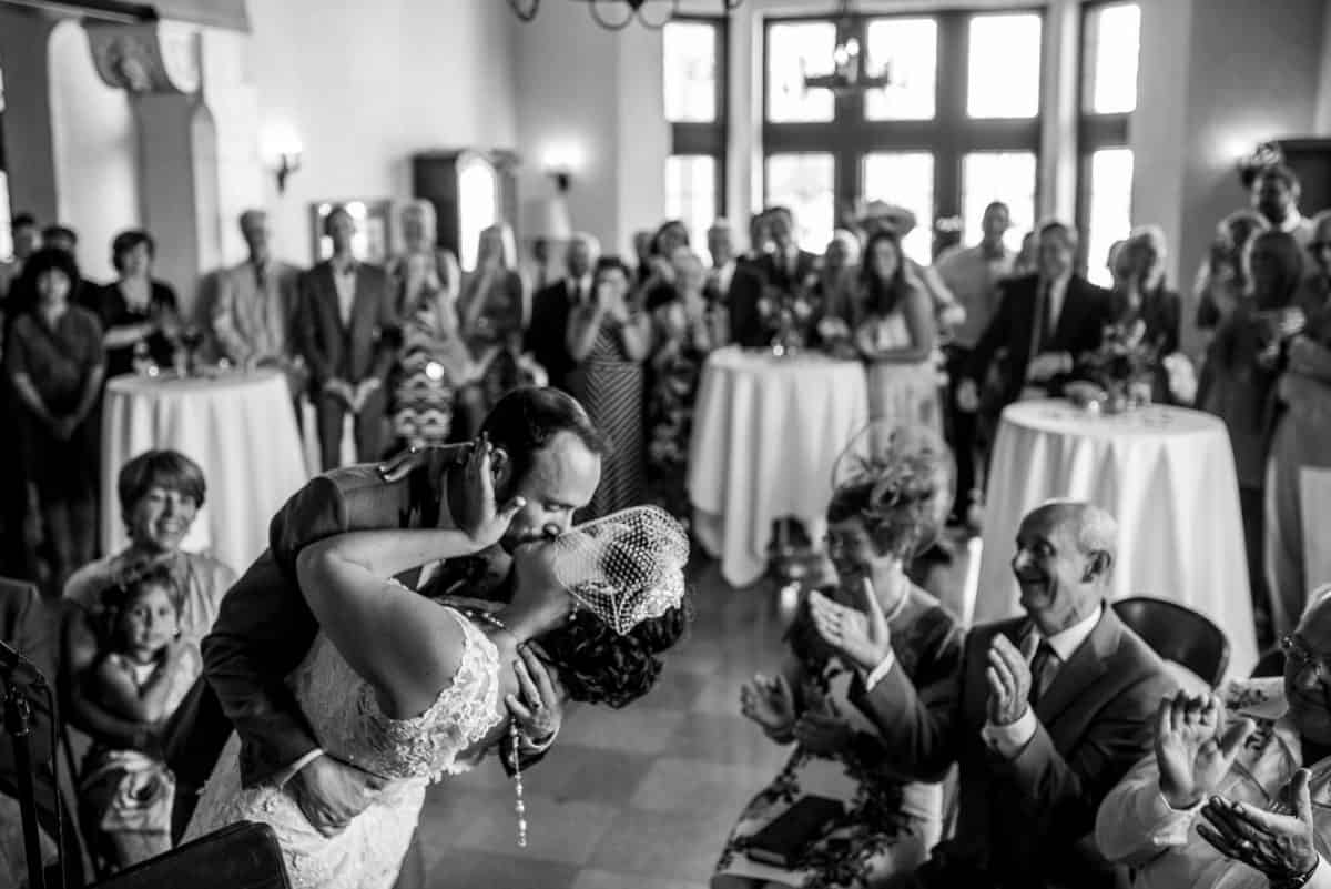 Wedding Photographers in Madison WI Dip Kiss
