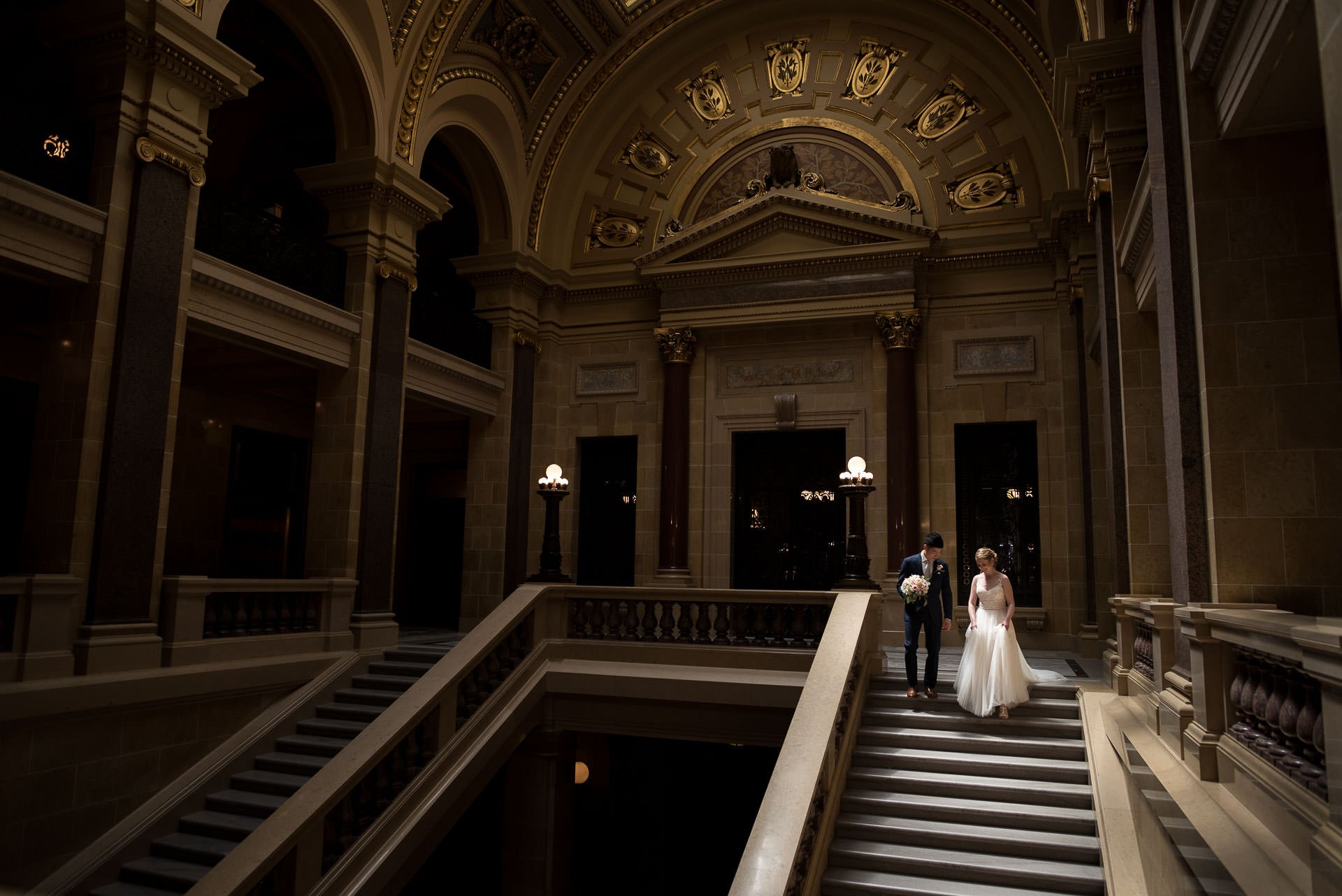 Bride and Groom at Wisconsin State Capitol