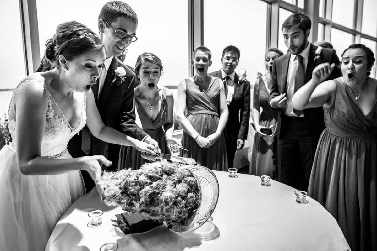 Documentary Style Wedding Photography Falling Cake