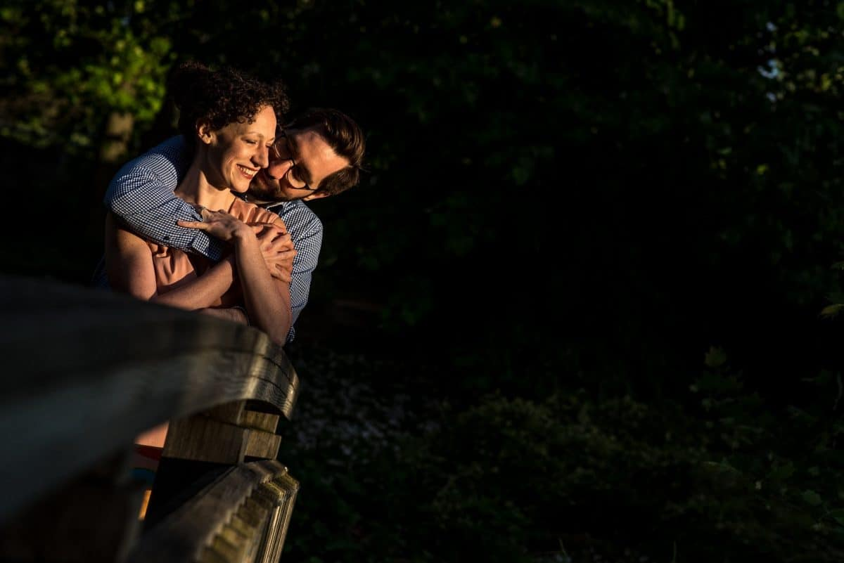 Engagement Photography Madison WI Bridge Hug