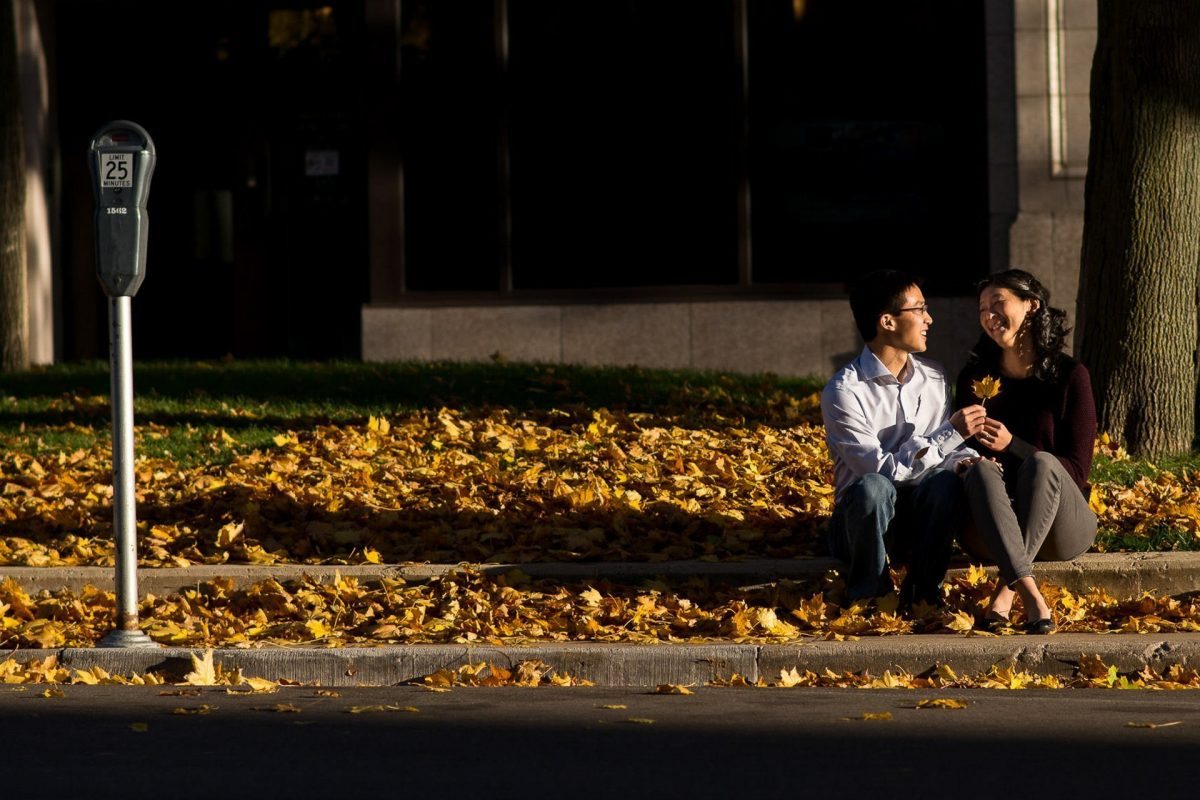 Engagement Photography Madison WI Fall Curb