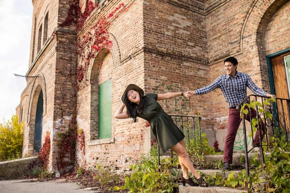 Engagement Photography Madison WI Olbrich Stairs