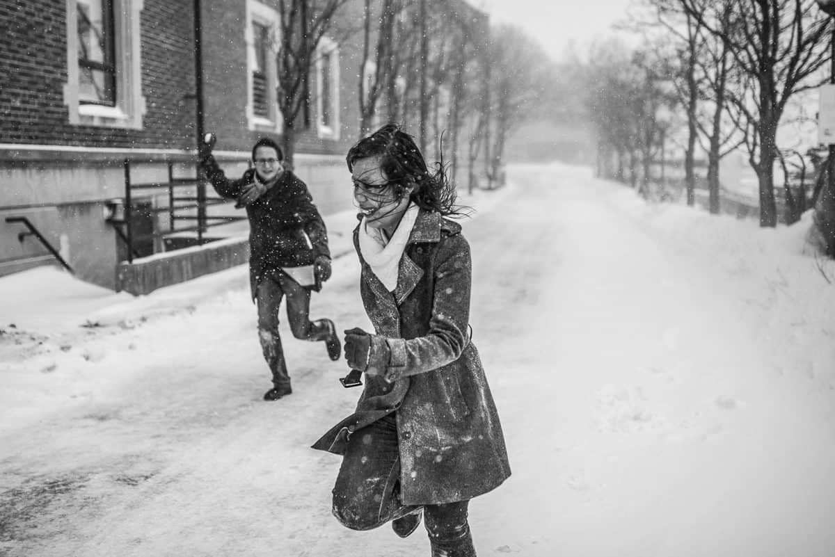 Engagement Photography Madison WI Snowball Fight