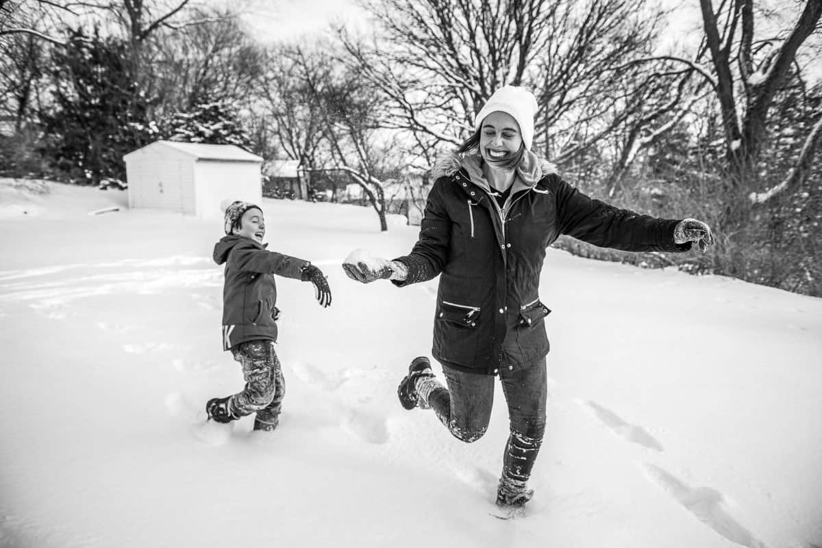 Family Photography Madison WI Snow Fight