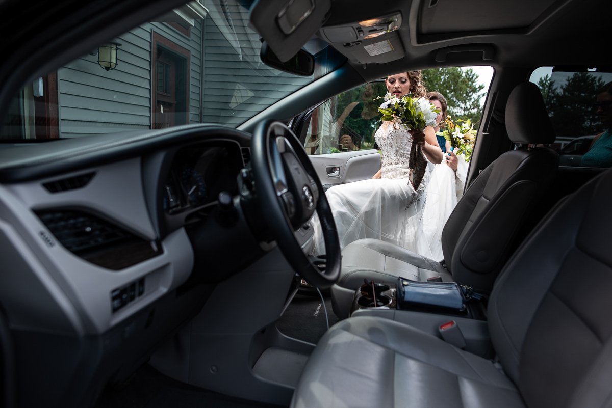 Bride getting in the car to go to church