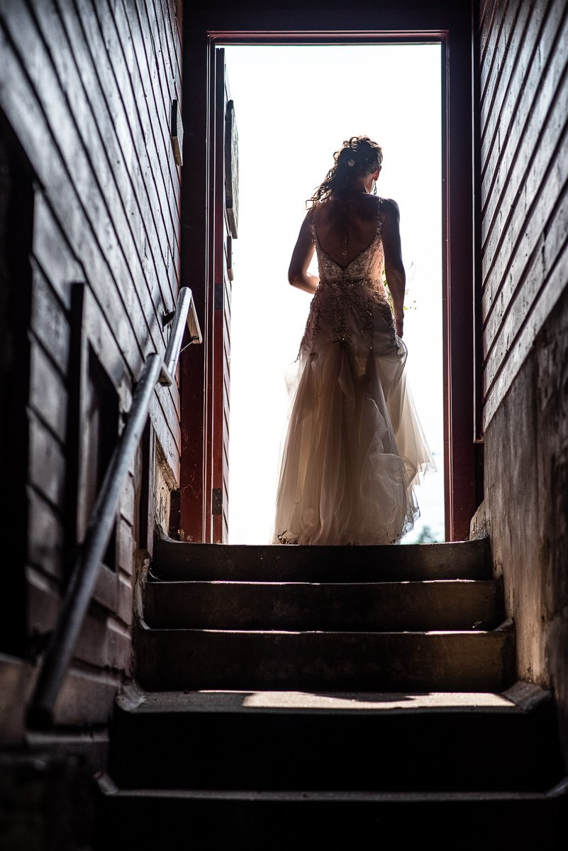 Bride walking upstairs