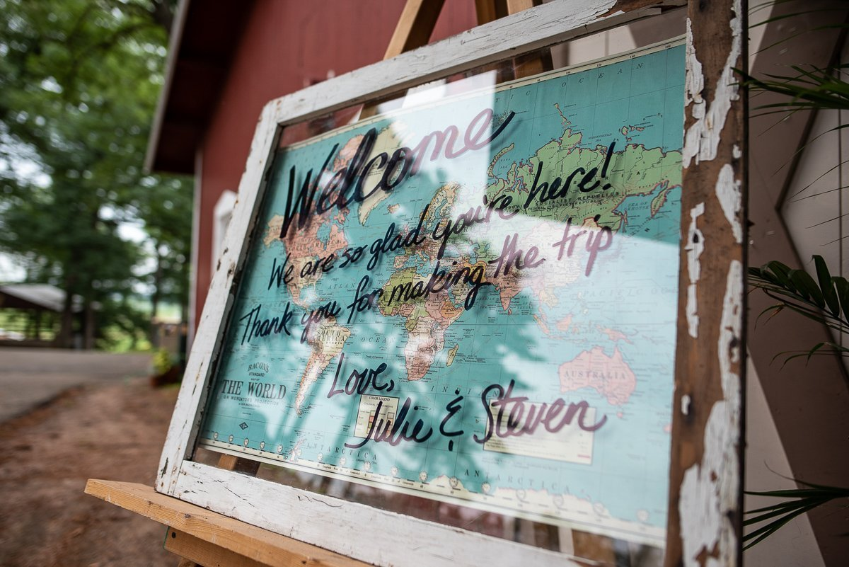 Wedding decor with thje world map