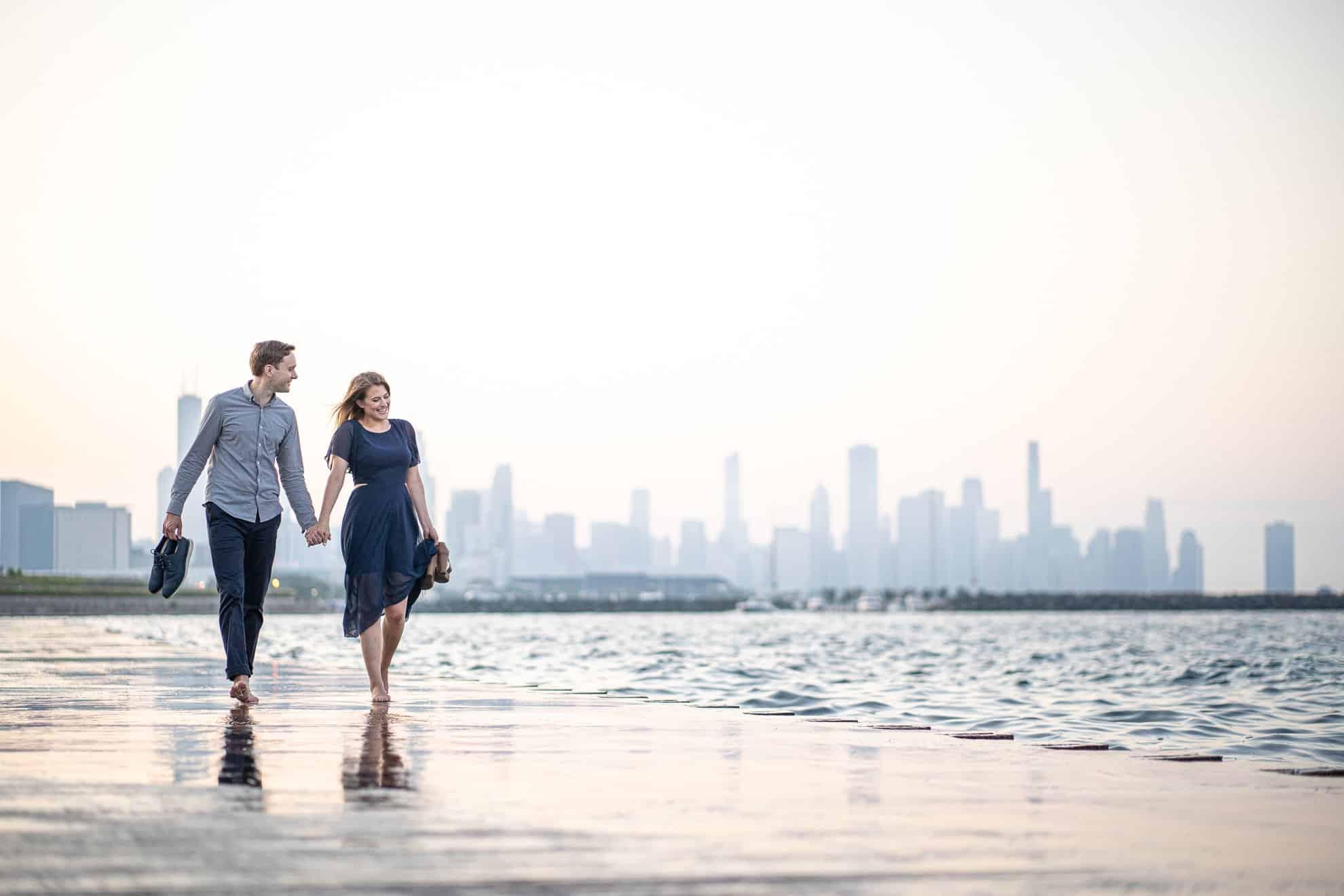 Engagement Photos Madison WI Walking Barefoot Beach