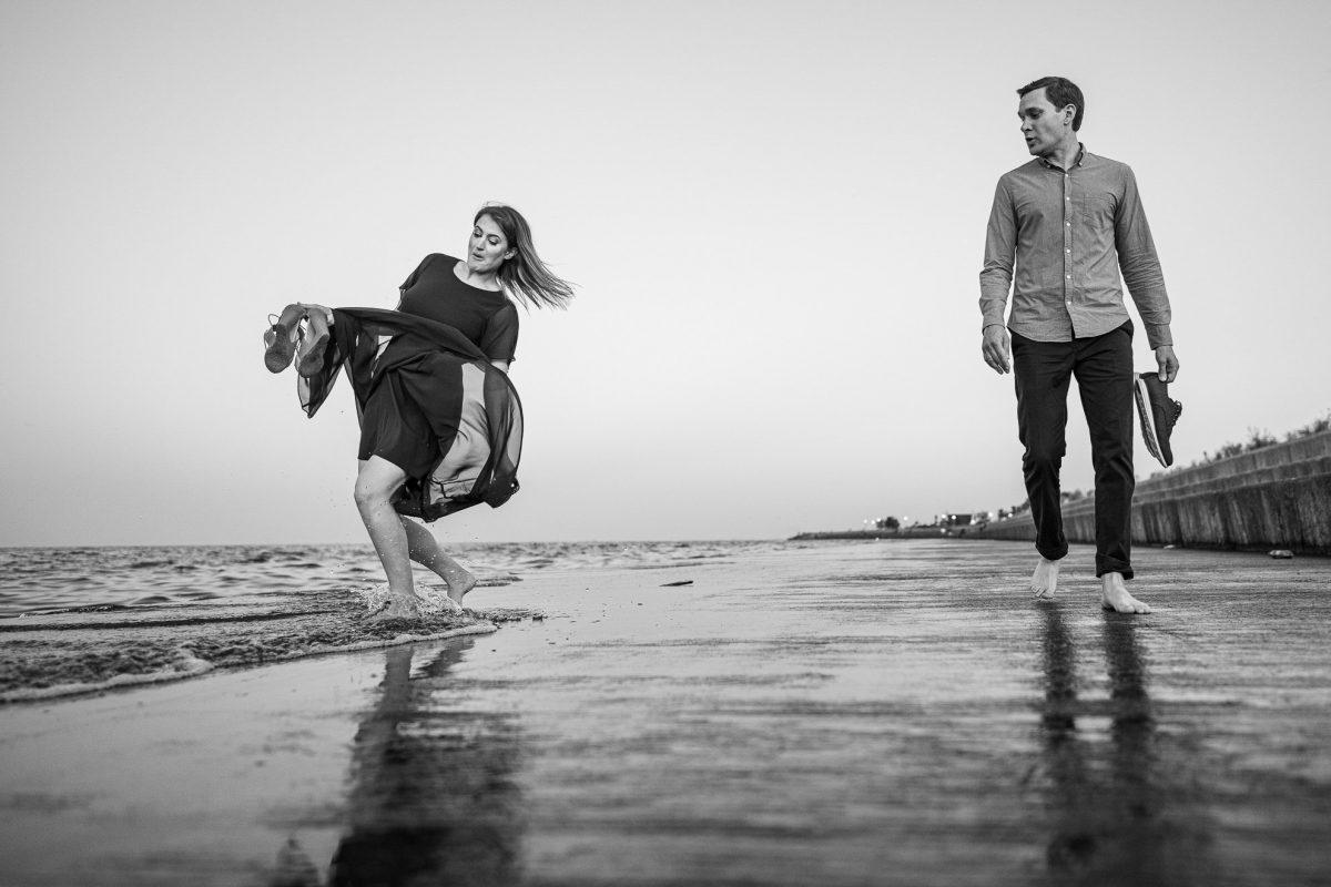 Engagement Photos Madison WI Windy Beach