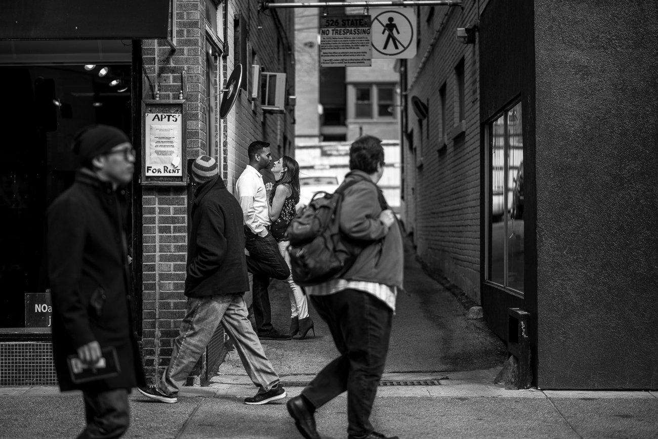 Engagement Photographers Madison WI Kiss Streets