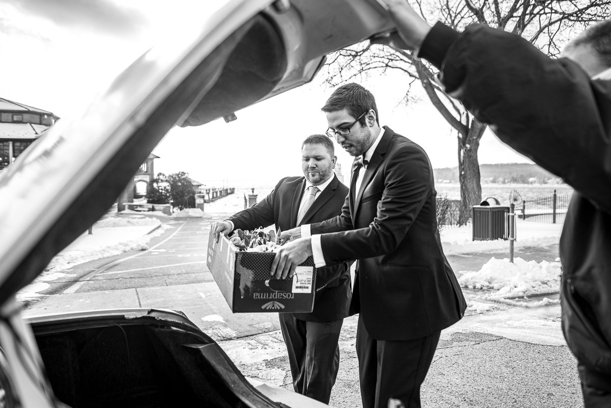 Wedding Photographers Madison WI Loading Car