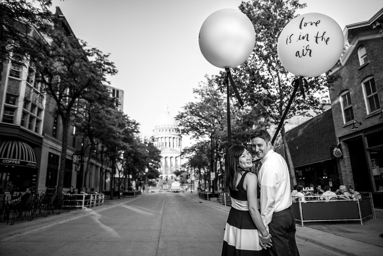 Engagement Photos Madison WI Balloons
