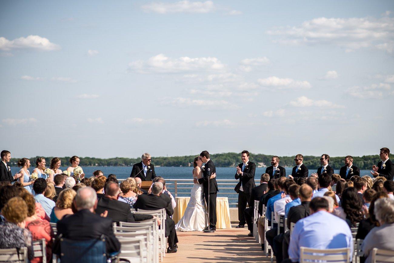 Wedding Photographers Madison WI Ceremony Kiss