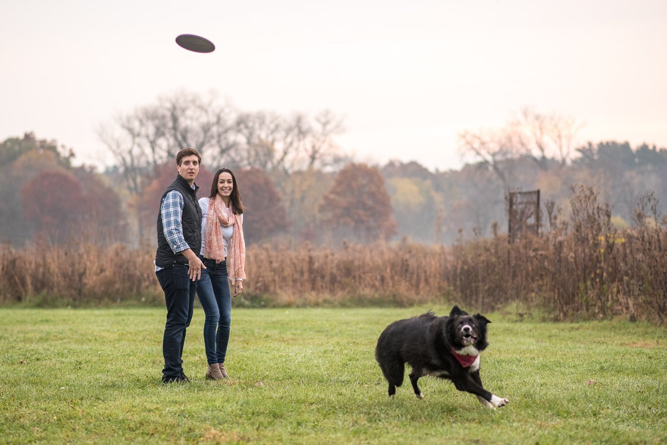 Engagement Photos Madison WI Dog Running