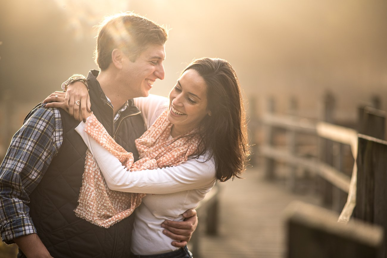 Engagement Photos Madison WI Sunrise fog
