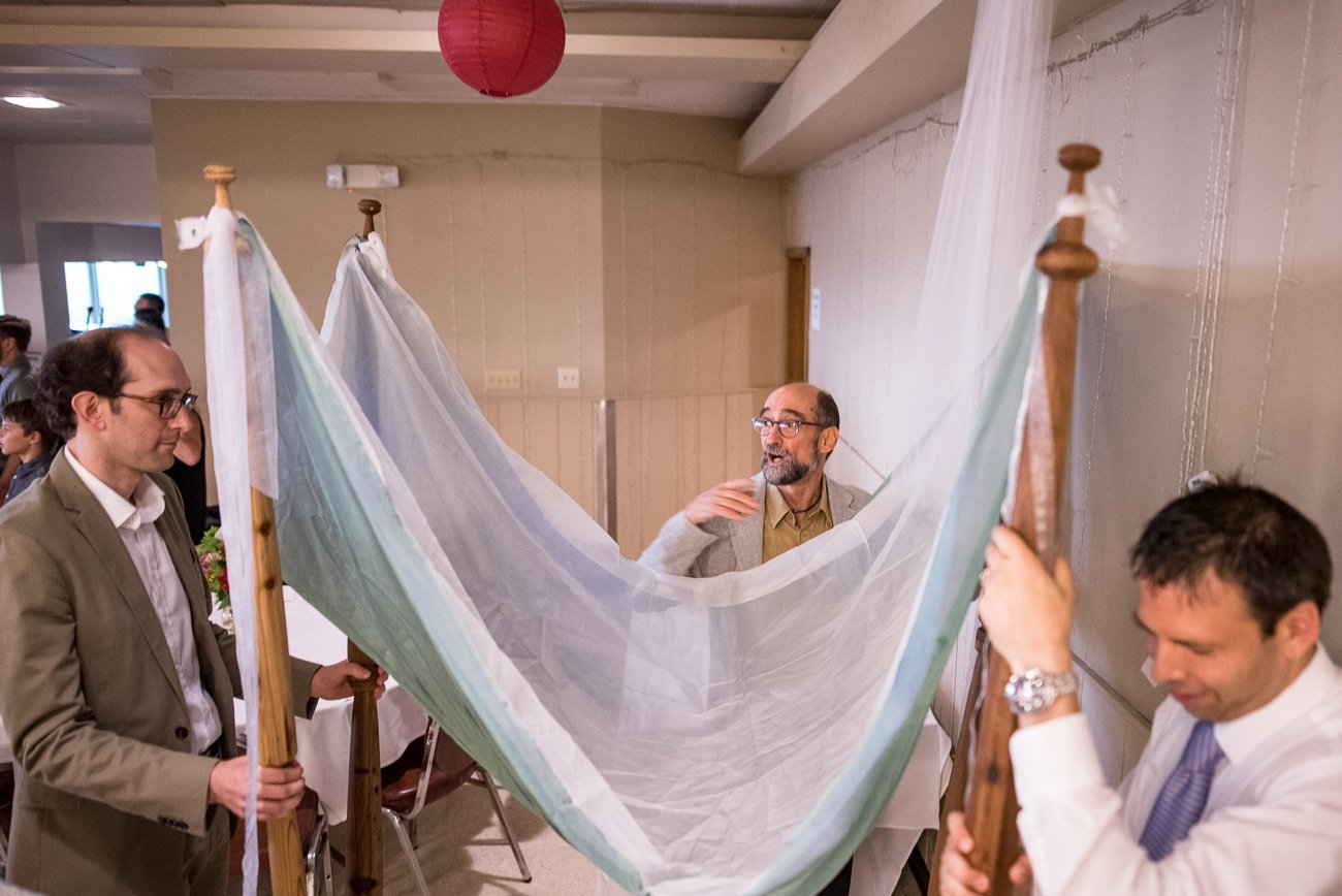 Madison WI Wedding Photographers Preparing Chuppah