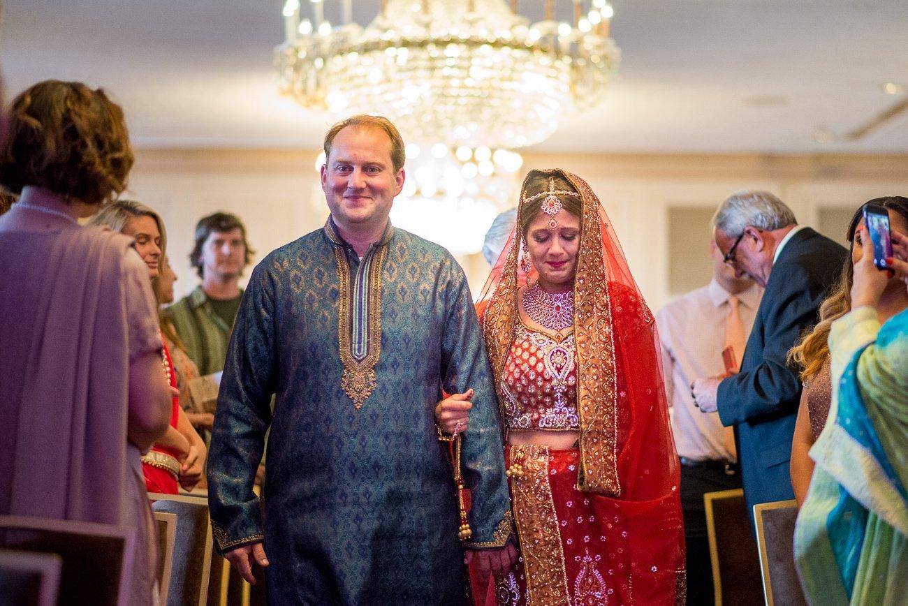 Wedding Photographers Madison WI Walking Down Aisle