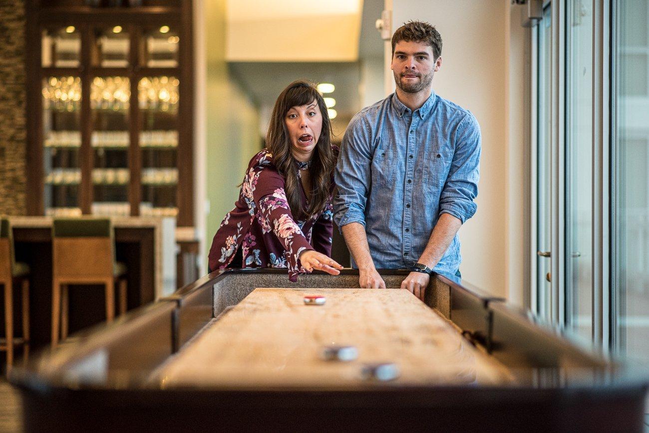 Engagement Photographers Madison WI Bar Games