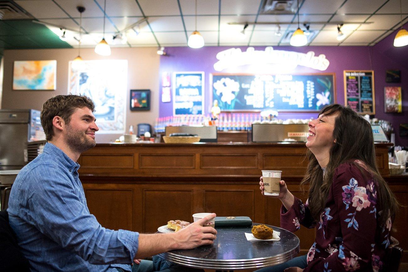 Engagement Photographers Madison WI Coffe Shop
