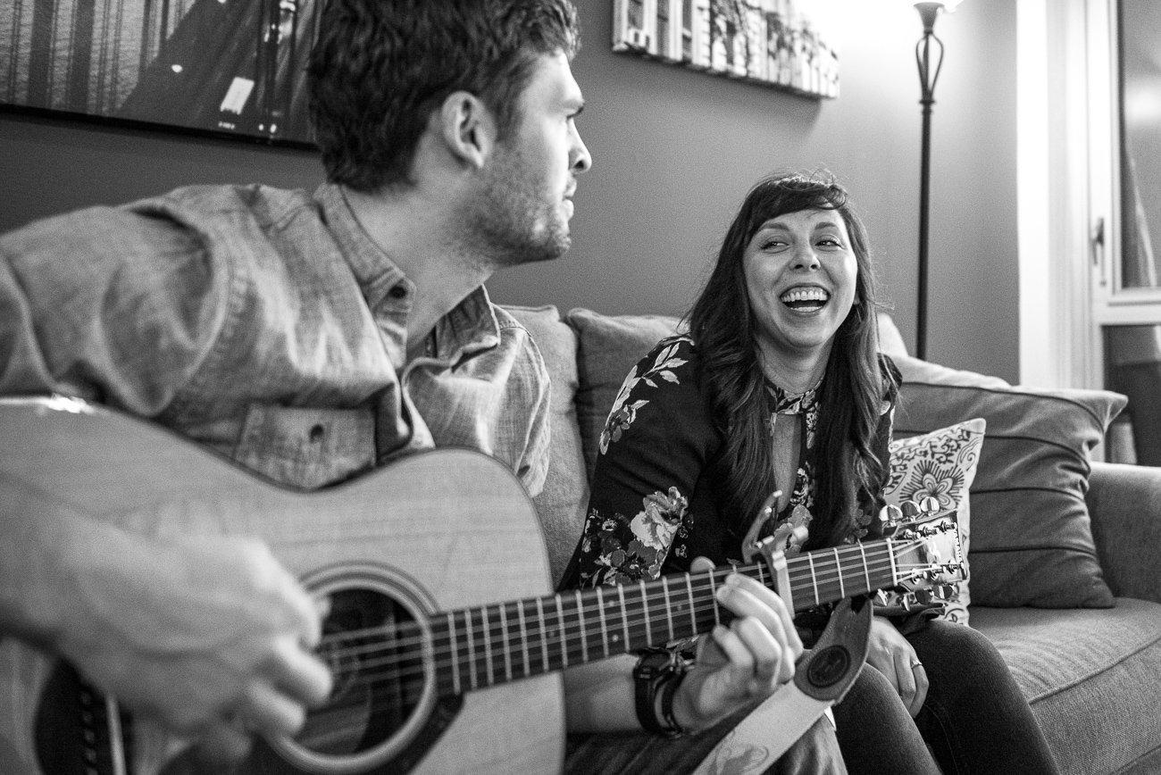 Engagement Photographers Madison WI Playing Guitar