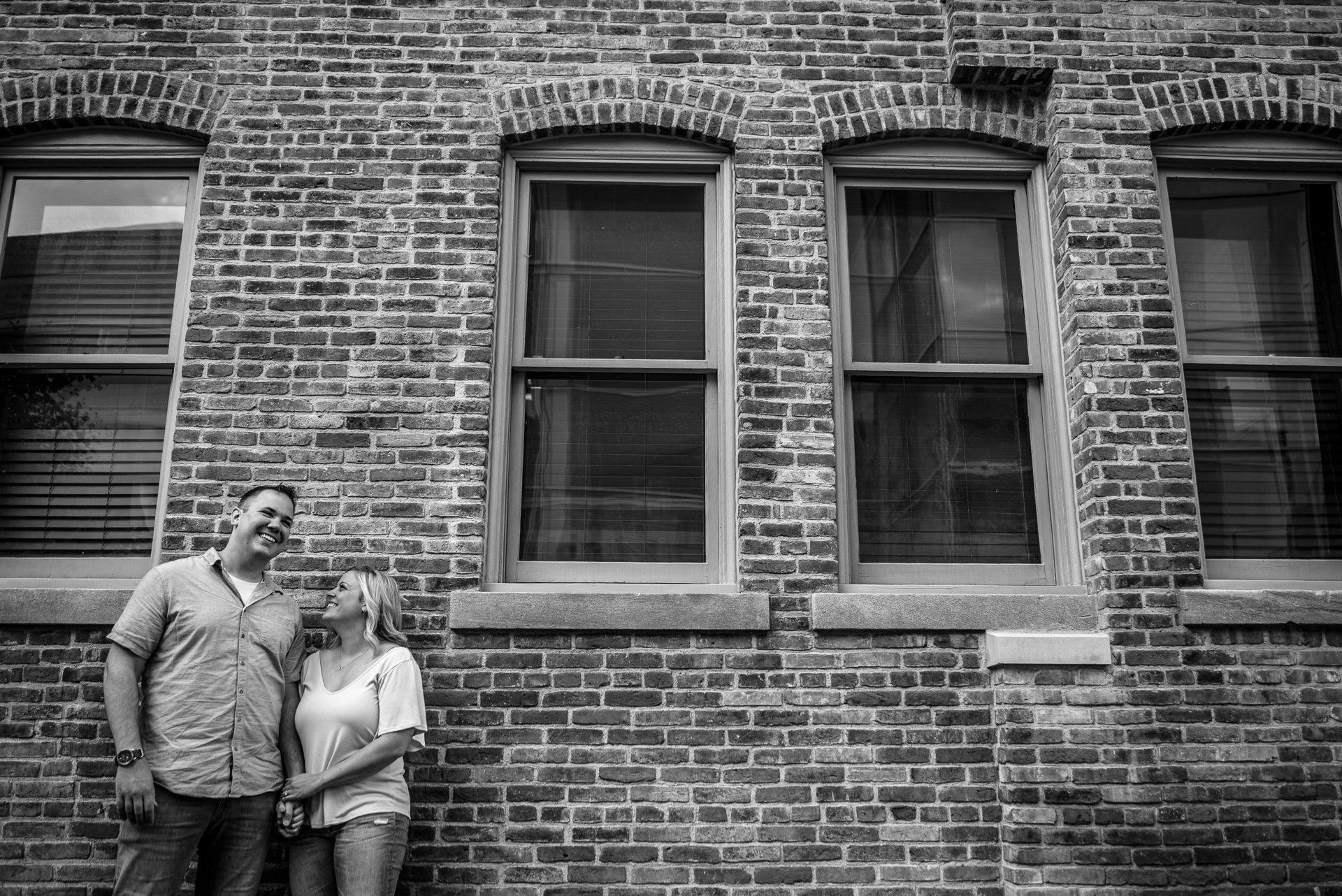 Engagement Photographers Madison WI Brick Wall