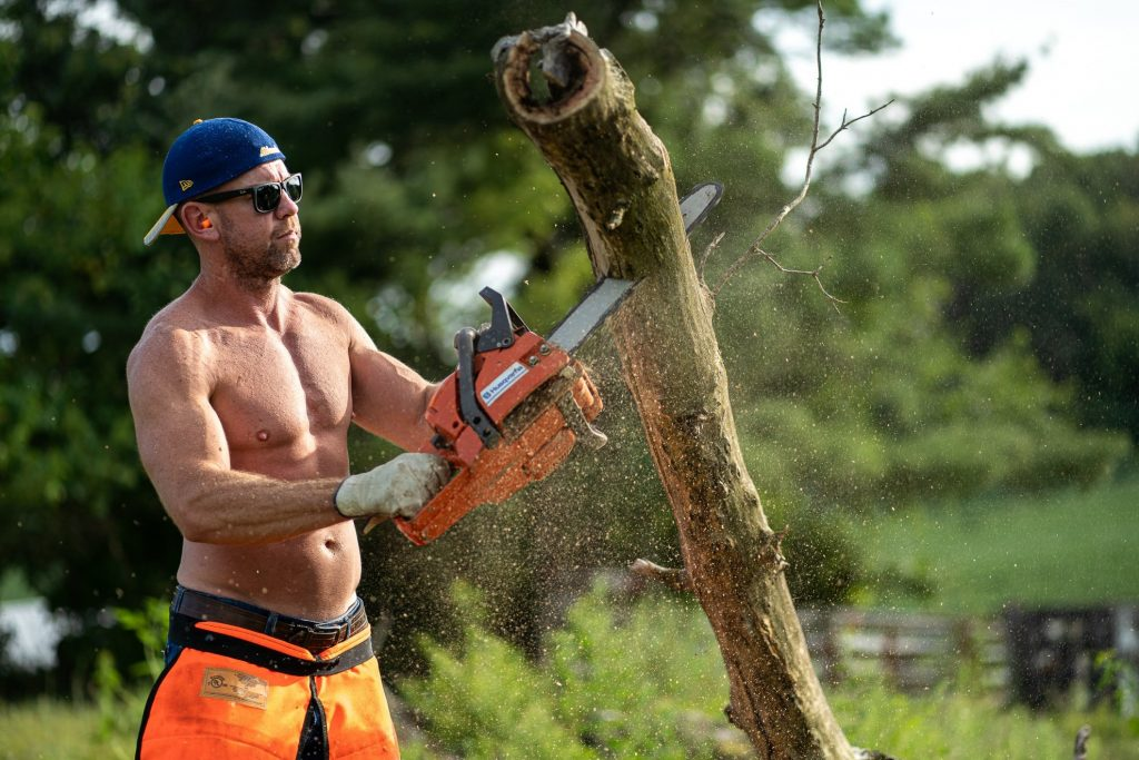 shirtless man cutting tree in verona wi