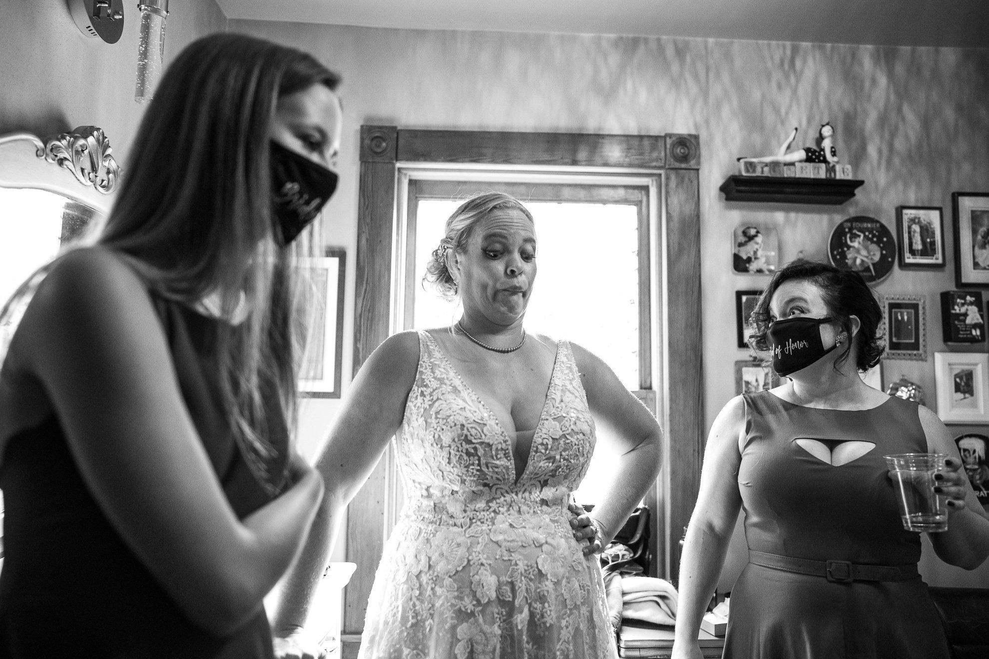 bride breathing deep