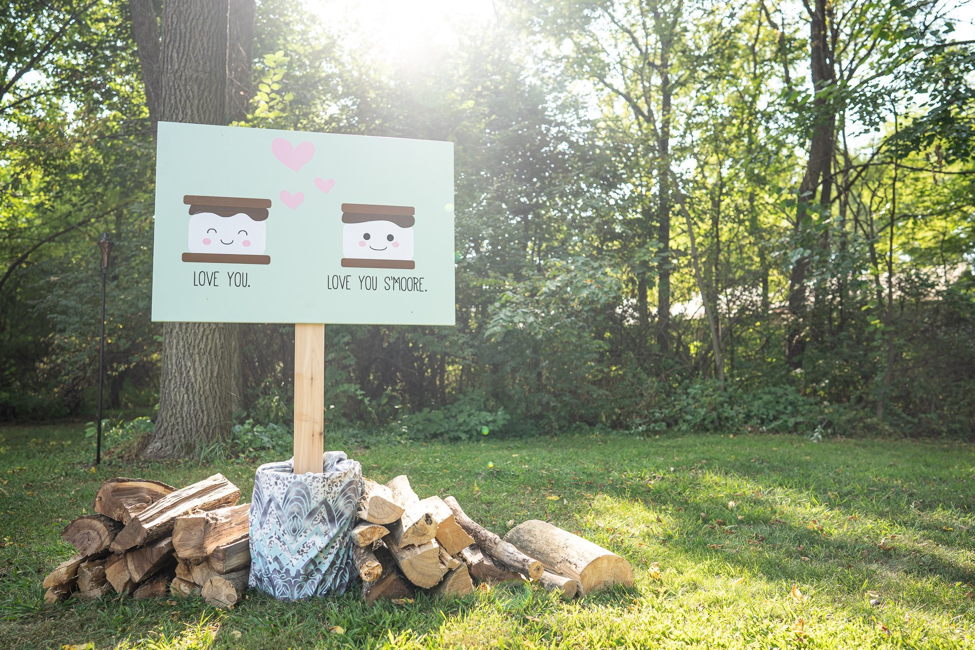 smores sign with wood logs