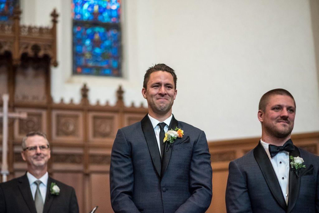 Wedding Photographers Madison WI Groom Reaction