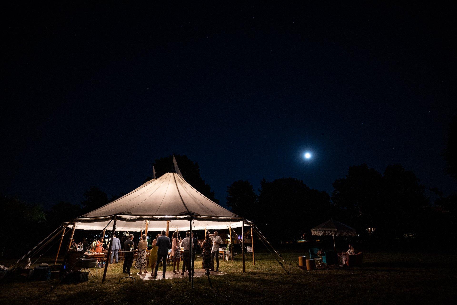tent under moonlight