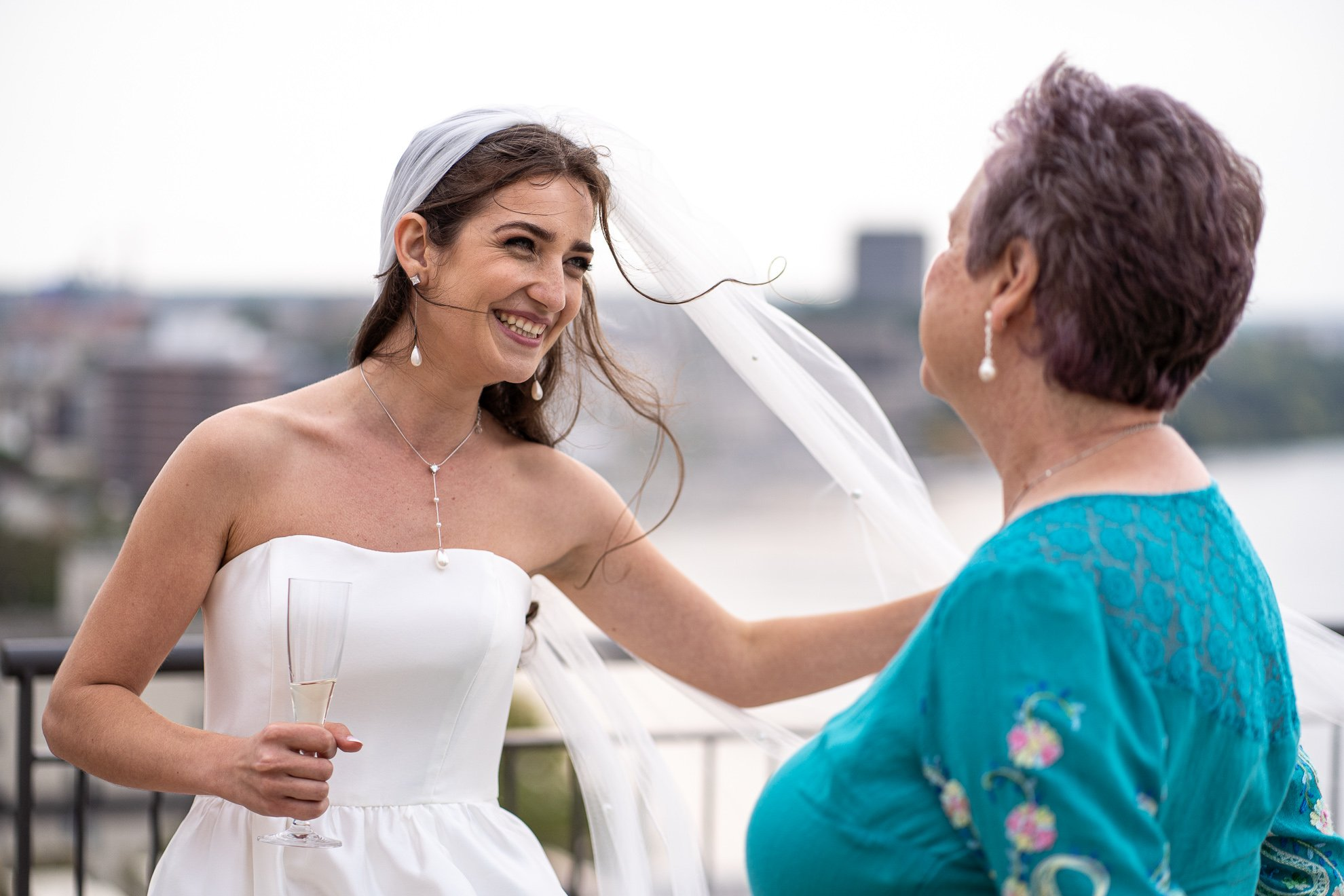 bride and guest chatting