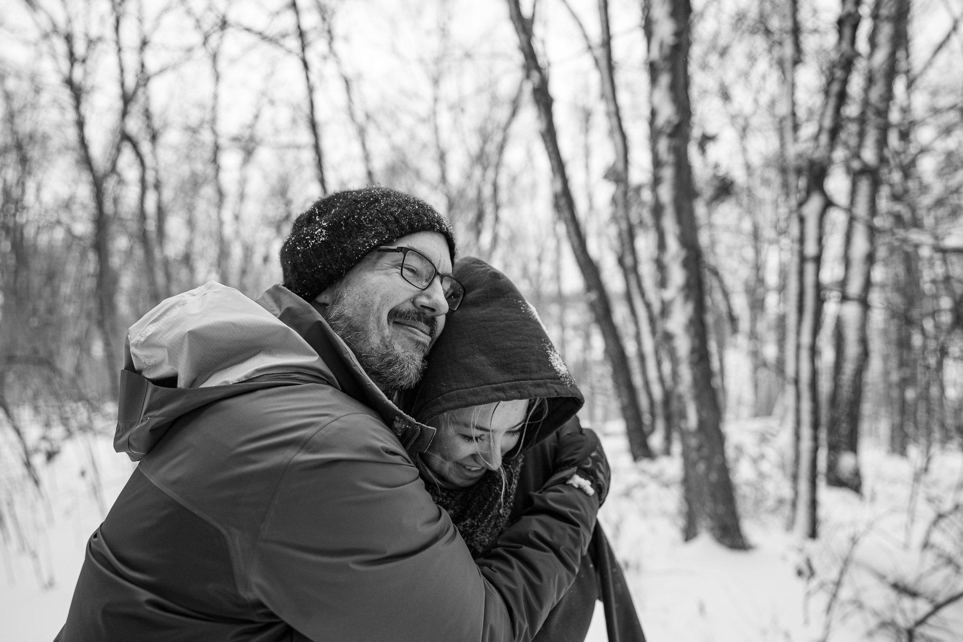 Dad Hug Wife Winter
