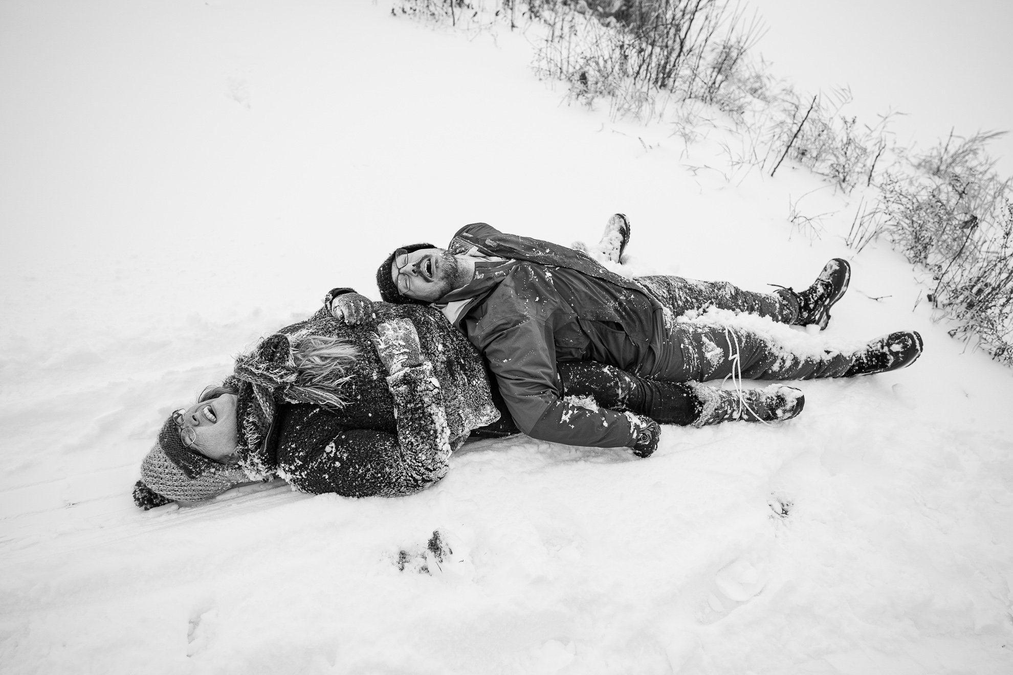 Family Photographer Madison WI Couple Sled