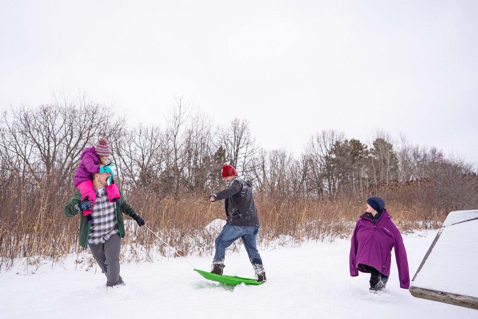 Family Photographer Madison WI Pulling Sled