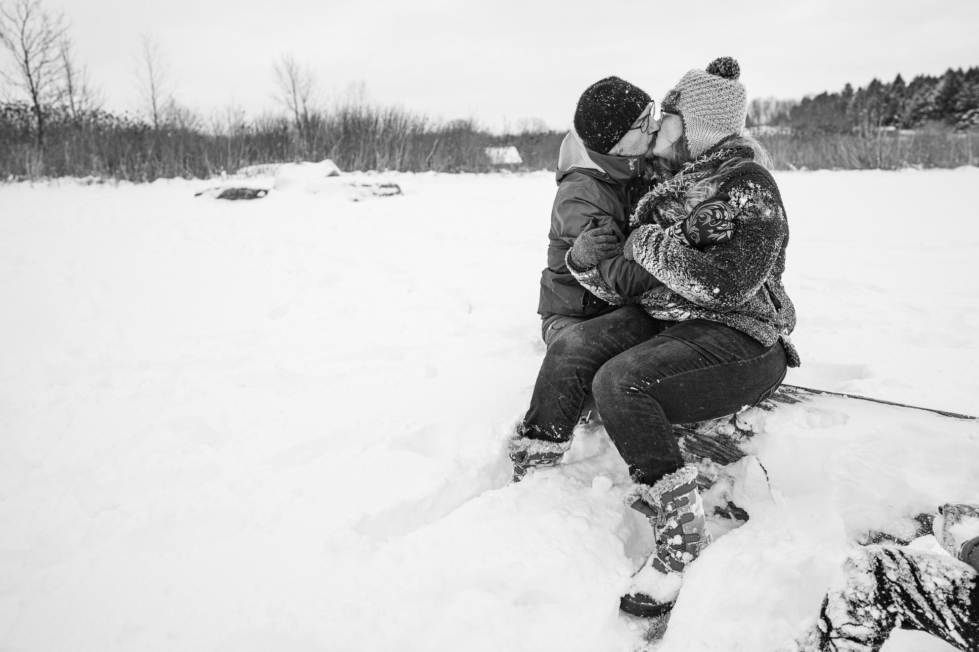 Husband Wife Kissing Winter