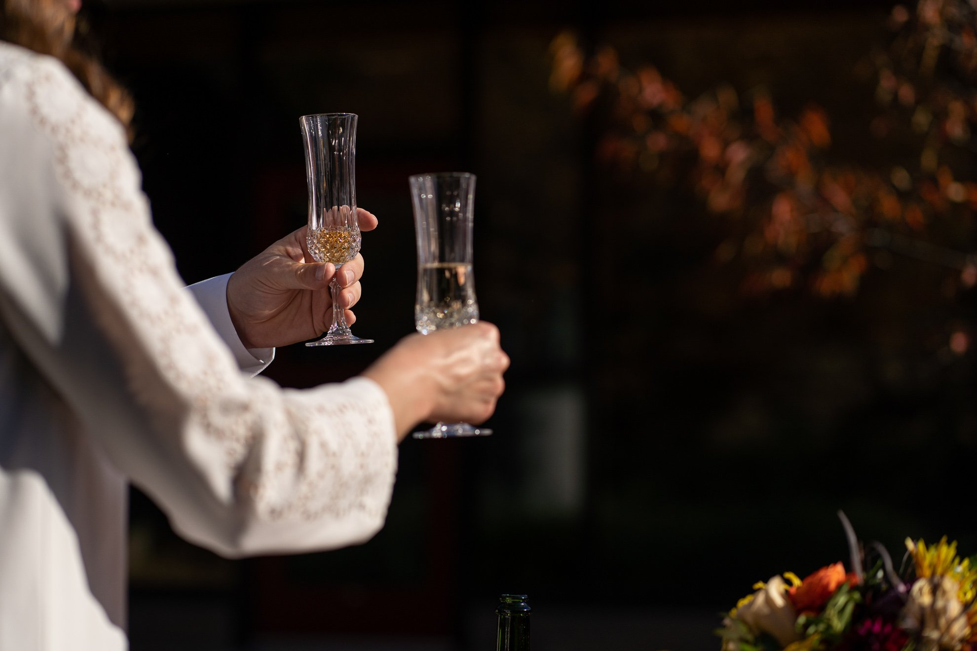 wedding photographers madison wi champagne glasses