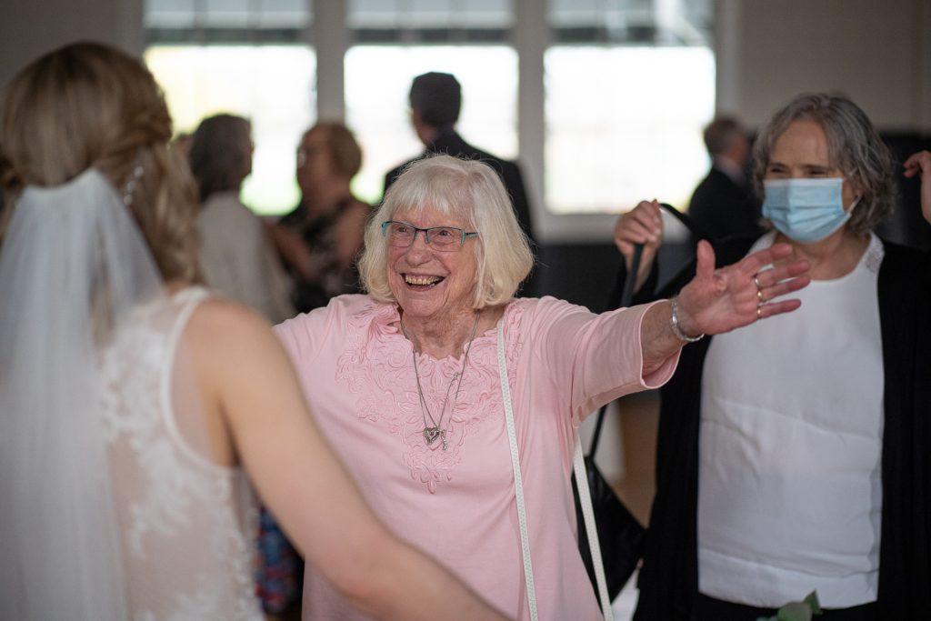 grandma's hug after wedding ceremony