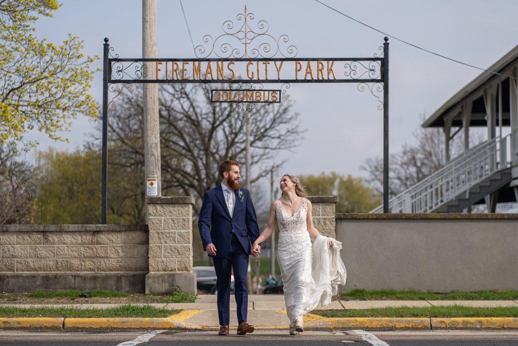 wedding couple at firemans city park Columbus WI