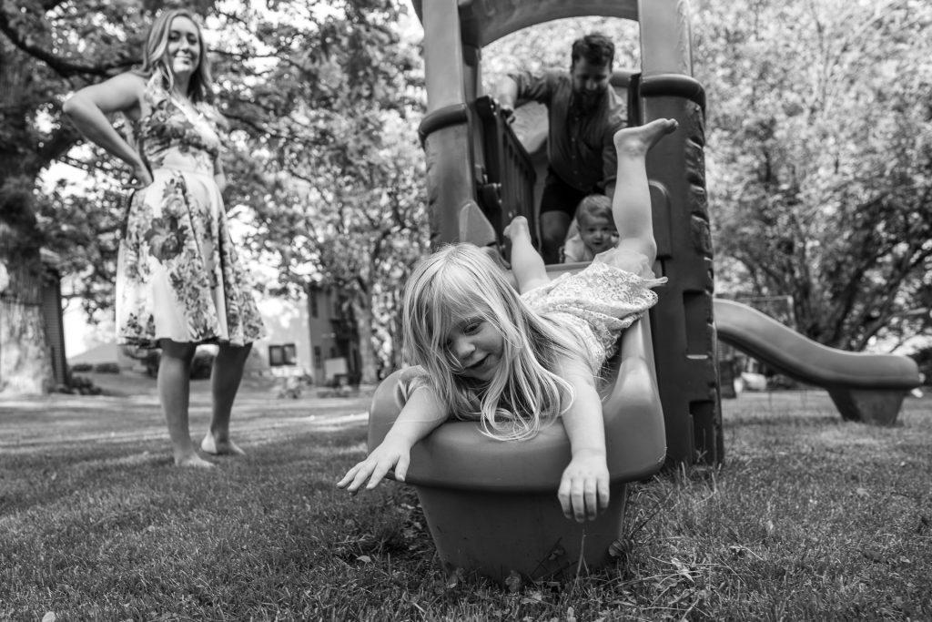 girl going down the slide