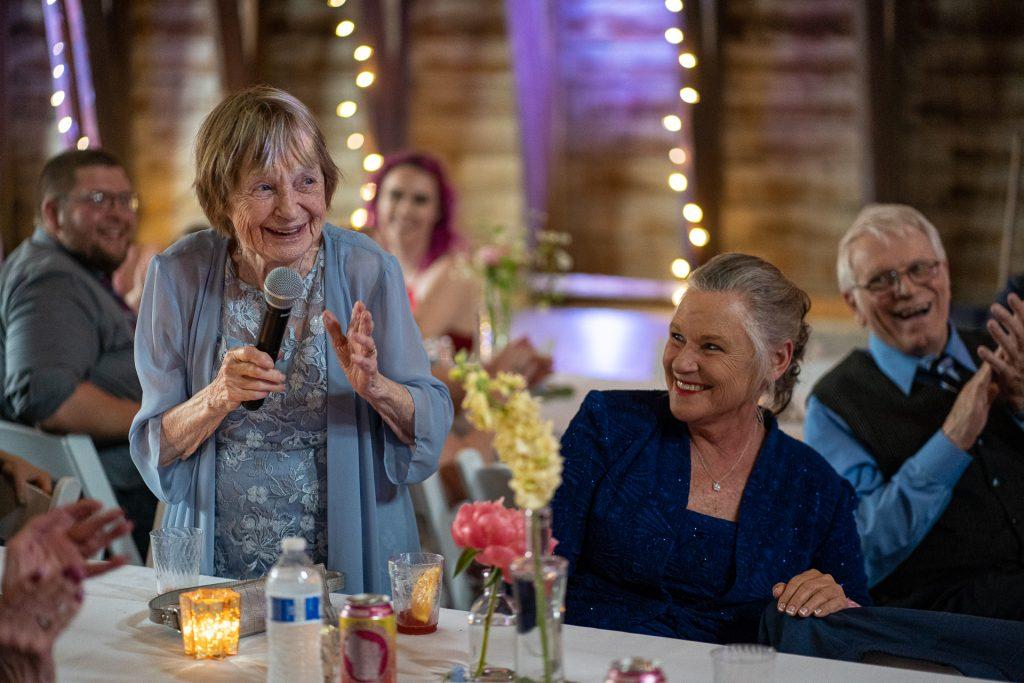 grandma speech during wedding reception