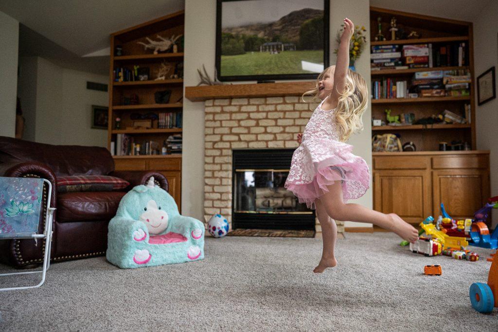 little girl jump dancing