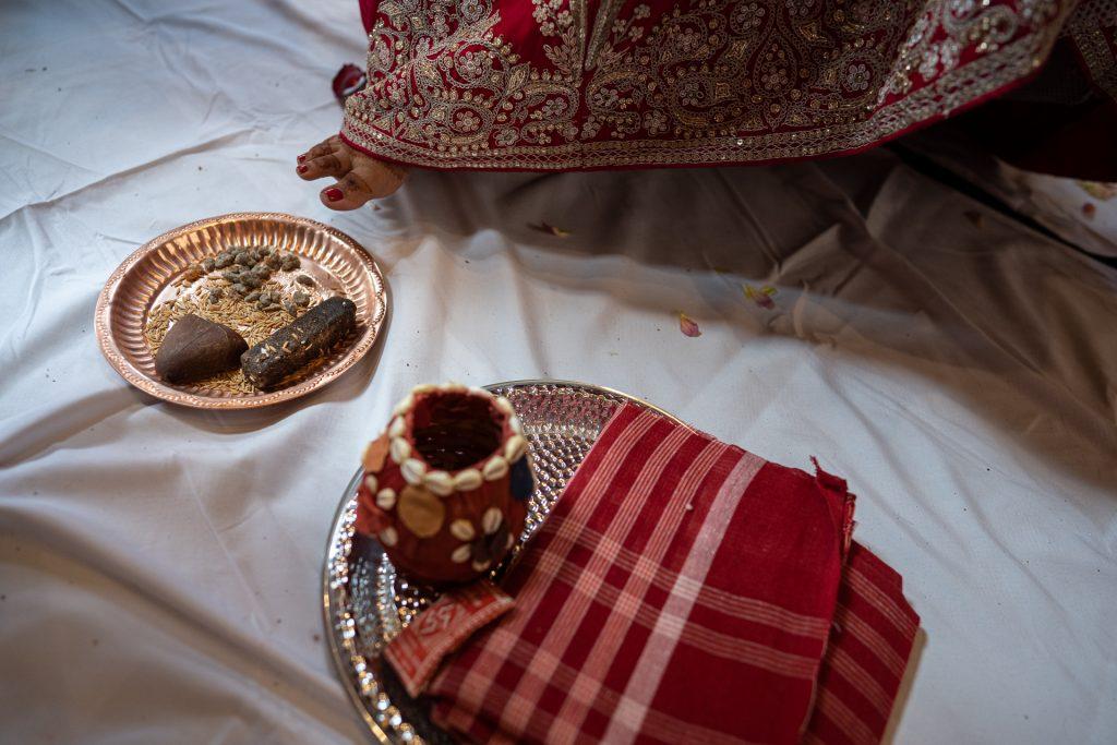 brides foot during hindu wedding ceremony