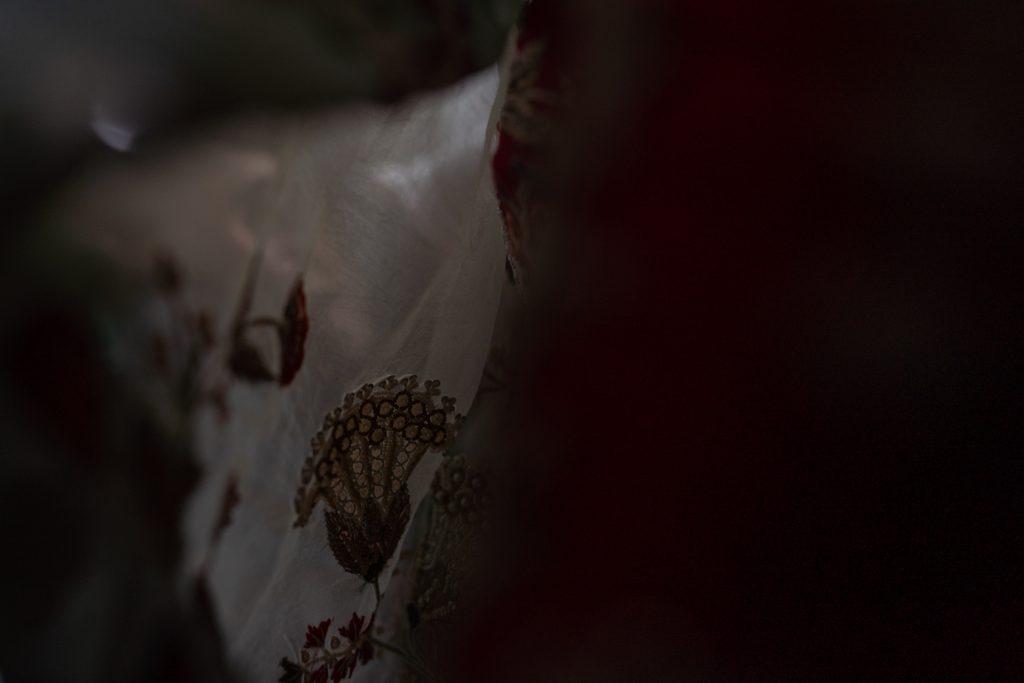 bridesmaid behind veil