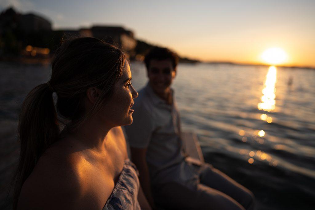 couple memorial union terrace pier sunset