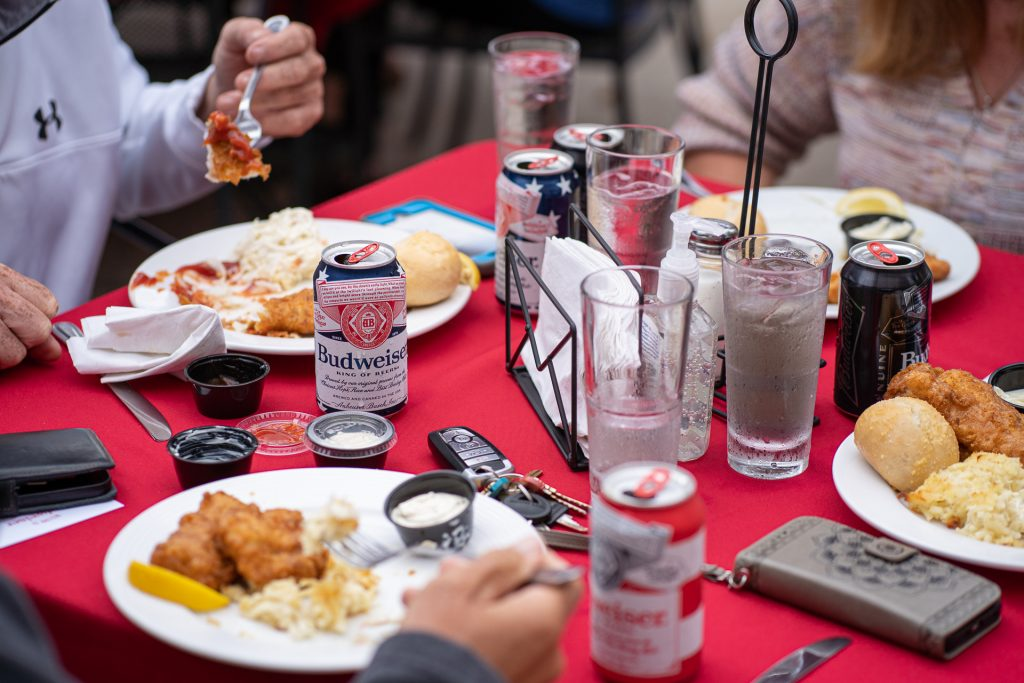 fish fry table with budweiser