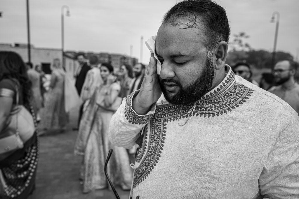 groom sweating during baraat