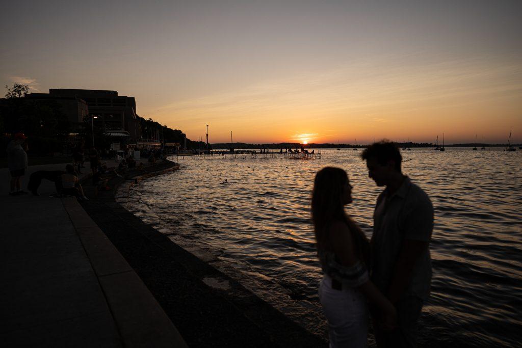 memorial union terrace sunset couple silhouette